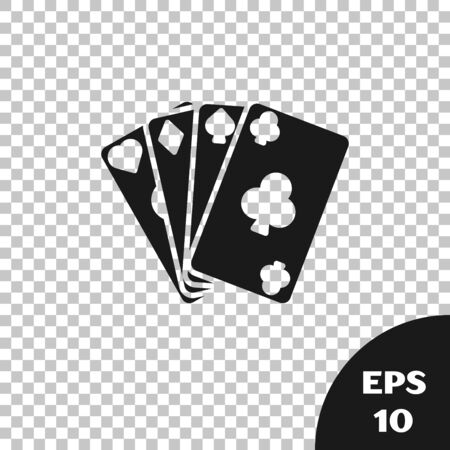 Black Playing cards icon isolated on transparent background. Casino gambling. Vector Illustration