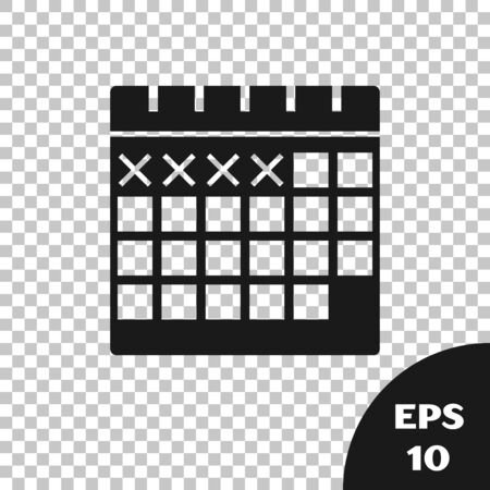 Black Calendar icon isolated on transparent background. Vector Illustration