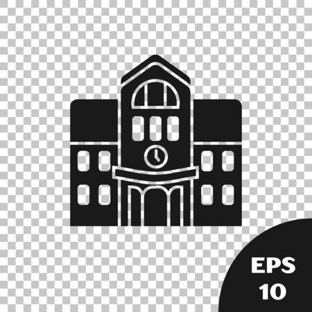 Black School building icon isolated on transparent background. Vector Illustration Çizim