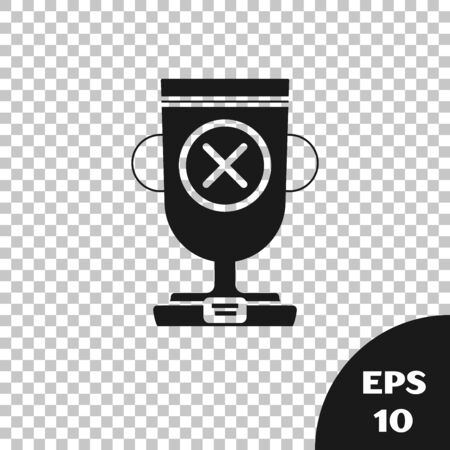 Black Award cup icon isolated on transparent background. Winner trophy symbol. Championship or competition trophy. Sports achievement sign. Vector Illustration