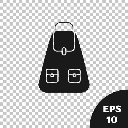 Black School backpack icon isolated on transparent background. Vector Illustration