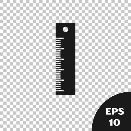 Black Ruler icon isolated on transparent background. Straightedge symbol. Vector Illustration