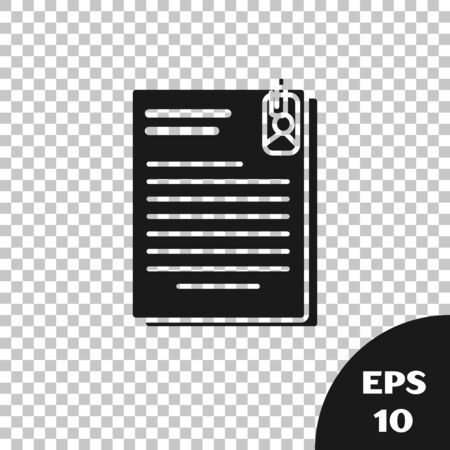 Black File document and paper clip icon isolated on transparent background. Checklist icon. Business concept. Vector Illustration