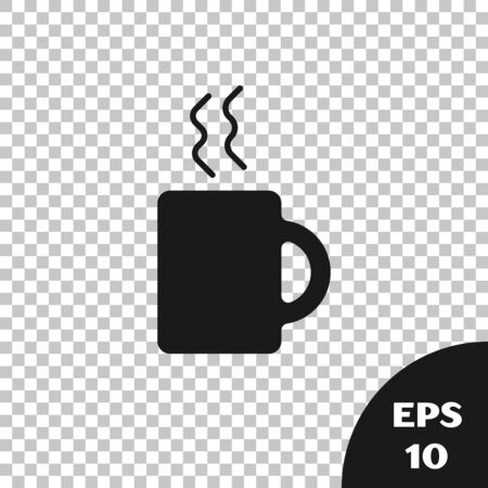 Black Coffee cup icon isolated on transparent background. Tea cup. Hot drink coffee. Vector Illustration