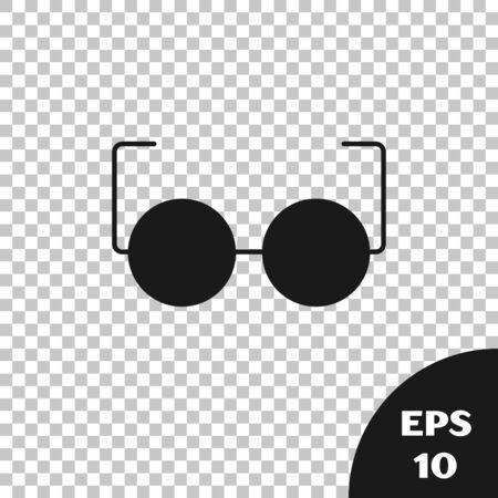 Black Glasses icon isolated on transparent background. Eyeglass frame symbol. Vector Illustration