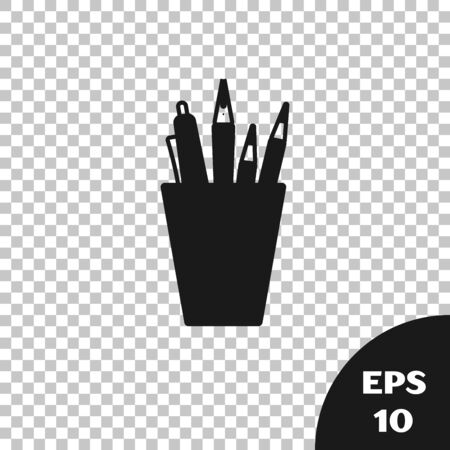 Black Pencil case stationery icon isolated on transparent background. Pencil, pen, ruler in a glass for office. Vector Illustration