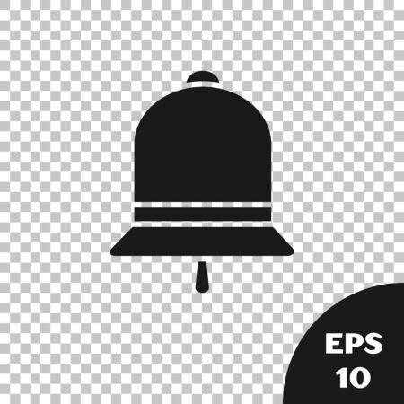 Black Ringing bell icon isolated on transparent background. Alarm symbol, service bell, handbell sign, notification symbol. Vector Illustration  イラスト・ベクター素材