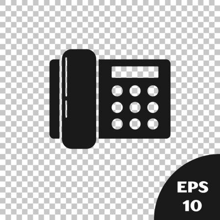 Black Telephone icon isolated on transparent background. Landline phone. Vector Illustration Stock Illustratie