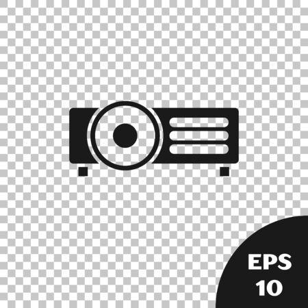 Black Presentation, movie, film, media projector icon isolated on transparent background. Vector Illustration