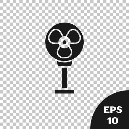 Black Electric fan icon isolated on transparent background. Vector Illustration