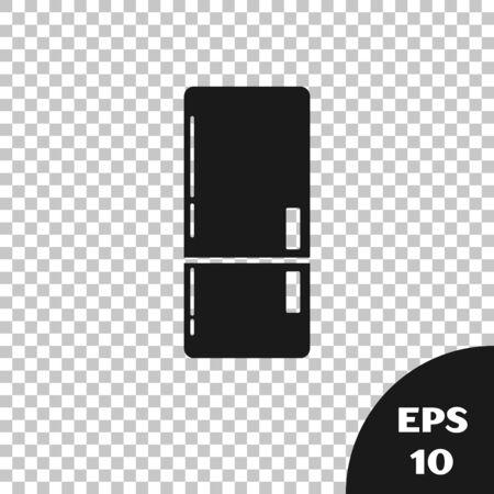 Black Refrigerator icon isolated on transparent background. Fridge freezer refrigerator. Household tech and appliances. Vector Illustration