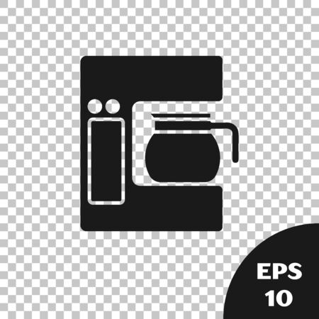 Black Coffee machine with glass pot icon isolated on transparent background. Vector Illustration