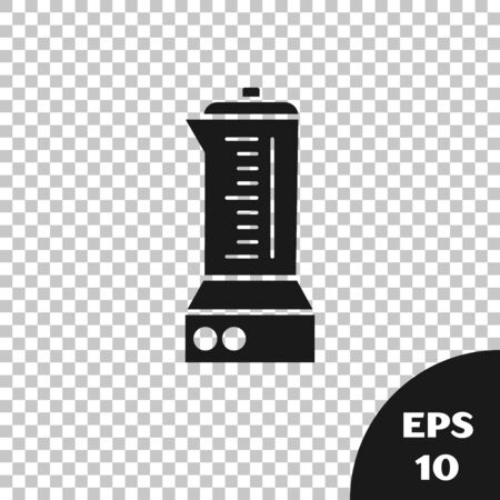 Black Blender icon isolated on transparent background. Kitchen electric stationary blender with bowl. Cooking smoothies, cocktail or juice. Vector Illustration