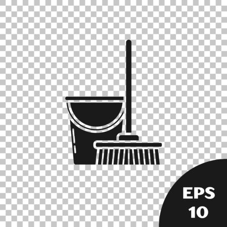 Black Mop and bucket icon isolated on transparent background. Cleaning service concept. Vector Illustration Çizim