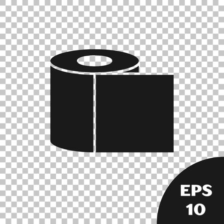 Black Toilet paper roll icon isolated on transparent background. Vector Illustration