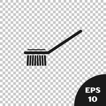 Black Toilet brush icon isolated on transparent background. Vector Illustration