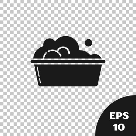 Black Plastic basin with soap suds icon isolated on transparent background. Bowl with water. Washing clothes, cleaning equipment. Vector Illustration Çizim
