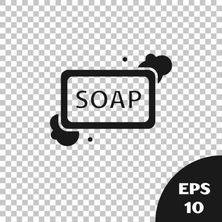 Black Bar of soap with foam icon isolated on transparent background. Soap bar with bubbles. Vector Illustration