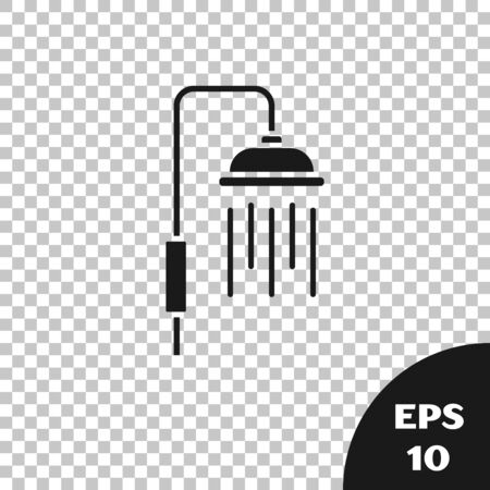 Black Shower head with water drops flowing icon isolated on transparent background. Vector Illustration