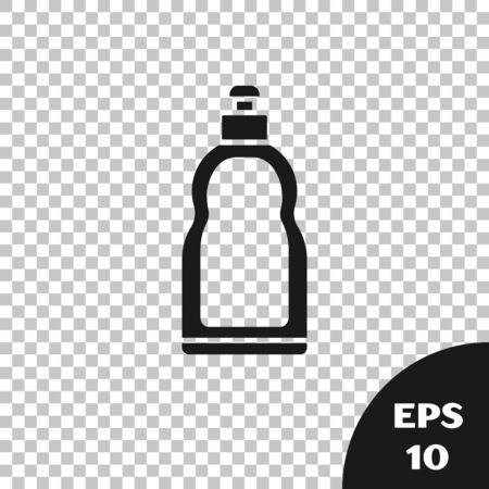 Black Plastic bottle for liquid laundry detergent, bleach, dishwashing liquid or another cleaning agent icon isolated on transparent background. Vector Illustration