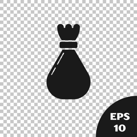 Black Garbage bag icon isolated on transparent background. Vector Illustration Illusztráció