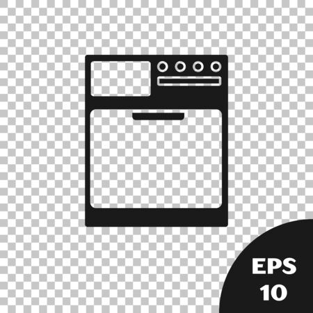 Black Washer icon isolated on transparent background. Washing machine icon. Clothes washer - laundry machine. Home appliance symbol. Vector Illustration