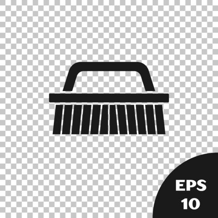 Black Brush for cleaning icon isolated on transparent background. Vector Illustration
