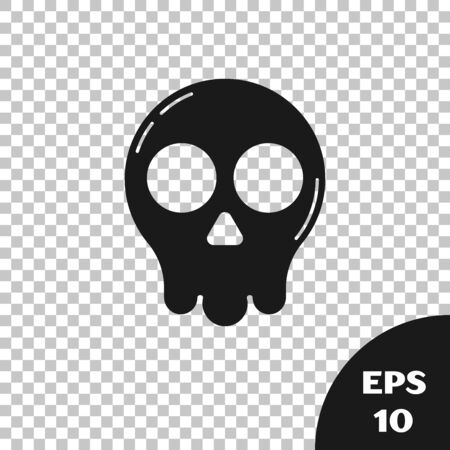 Black Skull icon isolated on transparent background. Happy Halloween party. Vector Illustration