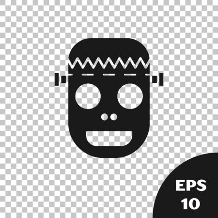 Black Zombie mask icon isolated on transparent background. Happy Halloween party. Vector Illustration Çizim