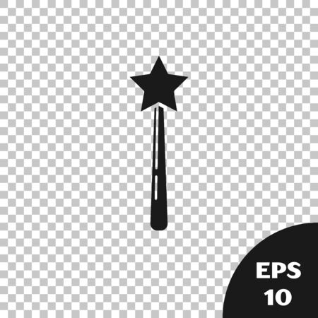 Black Magic wand icon isolated on transparent background. Star shape magic accessory. Magical power. Vector Illustration