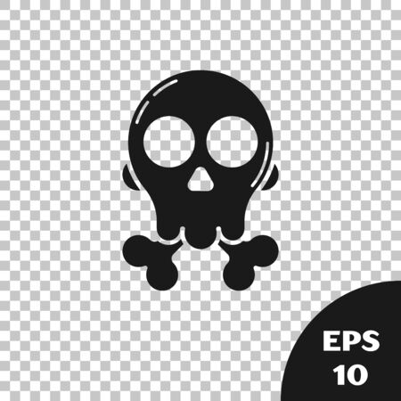 Black Skull on crossbones icon isolated on transparent background. Happy Halloween party. Vector Illustration Çizim