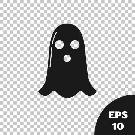 Black Ghost icon isolated on transparent background. Happy Halloween party. Vector Illustration