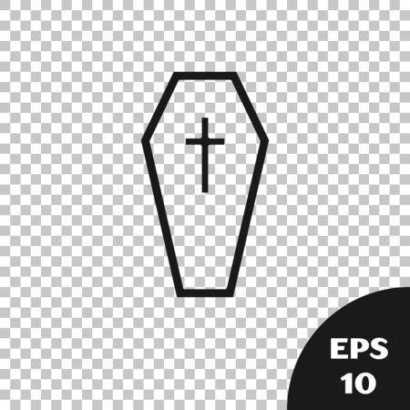Black Coffin with christian cross icon isolated on transparent background. Happy Halloween party. Vector Illustration Archivio Fotografico - 131335931