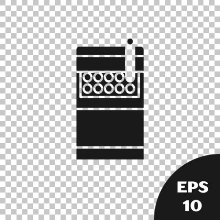 Black Open cigarettes pack box icon isolated on transparent background. Cigarettes pack. Vector Illustration 일러스트
