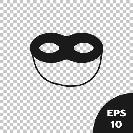 Black Festive mask icon isolated on transparent background. Vector Illustration