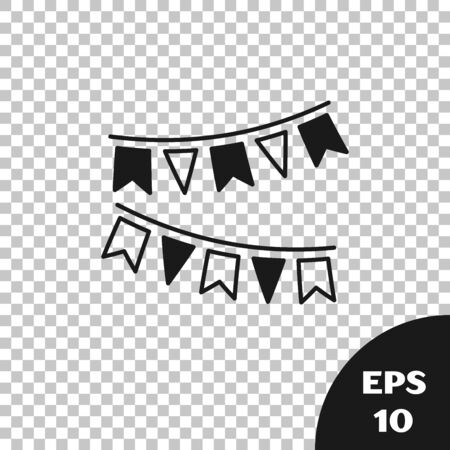 Black Carnival garland with flags icon isolated on transparent background. Party pennants for birthday celebration, festival and fair decoration. Vector Illustration Illustration