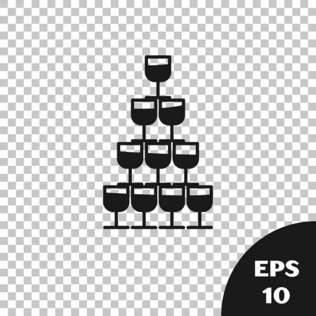 Black Wine glasses stacked in a pyramid tower icon isolated on transparent background. Wineglass sign. Vector Illustration Ilustrace