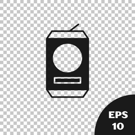 Black Beer can icon isolated on transparent background. Vector Illustration