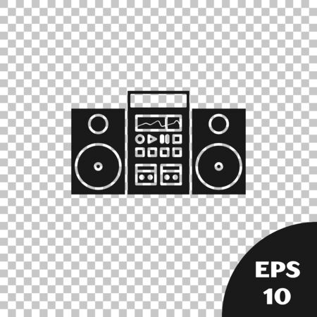 Black Home stereo with two speakers icon isolated on transparent background. Music system. Vector Illustration