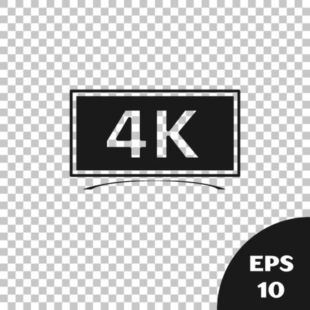Black Screen tv with 4k Ultra HD video technology icon isolated on transparent background. Vector Illustration Illustration