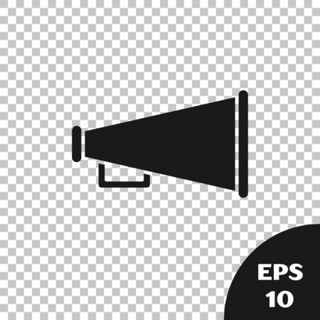 Black Megaphone icon isolated on transparent background. Speaker sign. Vector Illustration Stock Illustratie