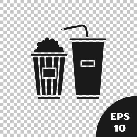 Black Popcorn in cardboard box and paper glass with drinking straw and water icon isolated on transparent background. Soda drink glass. Vector Illustration