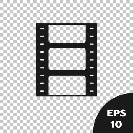 Black Play Video icon isolated on transparent background. Film strip sign. Vector Illustration Illustration