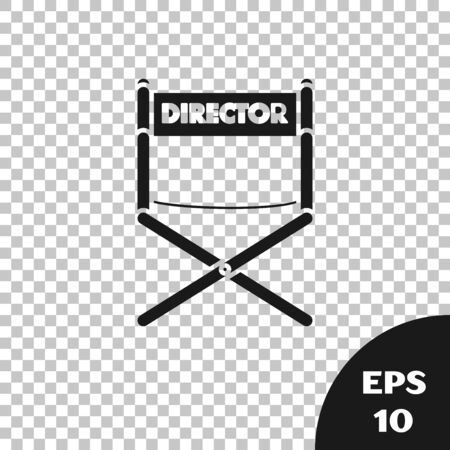 Black Director movie chair icon isolated on transparent background. Film industry. Vector Illustration