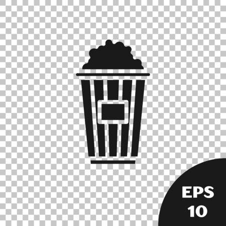 Black Popcorn in cardboard box icon isolated on transparent background. Popcorn bucket box. Vector Illustration