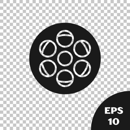 Black Film reel icon isolated on transparent background. Vector Illustration