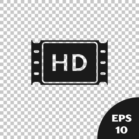 Black 4k movie, tape, frame icon isolated on transparent background. Vector Illustration