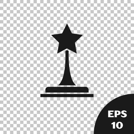 Black Movie trophy icon isolated on transparent background. Academy award icon. Films and cinema symbol. Vector Illustration