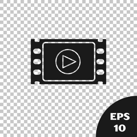 Black Play Video icon isolated on transparent background. Film strip with play sign. Vector Illustration
