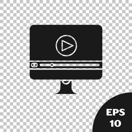 Black Online play video icon isolated on transparent background. Computer monitor and film strip with play sign. Vector Illustration Illustration